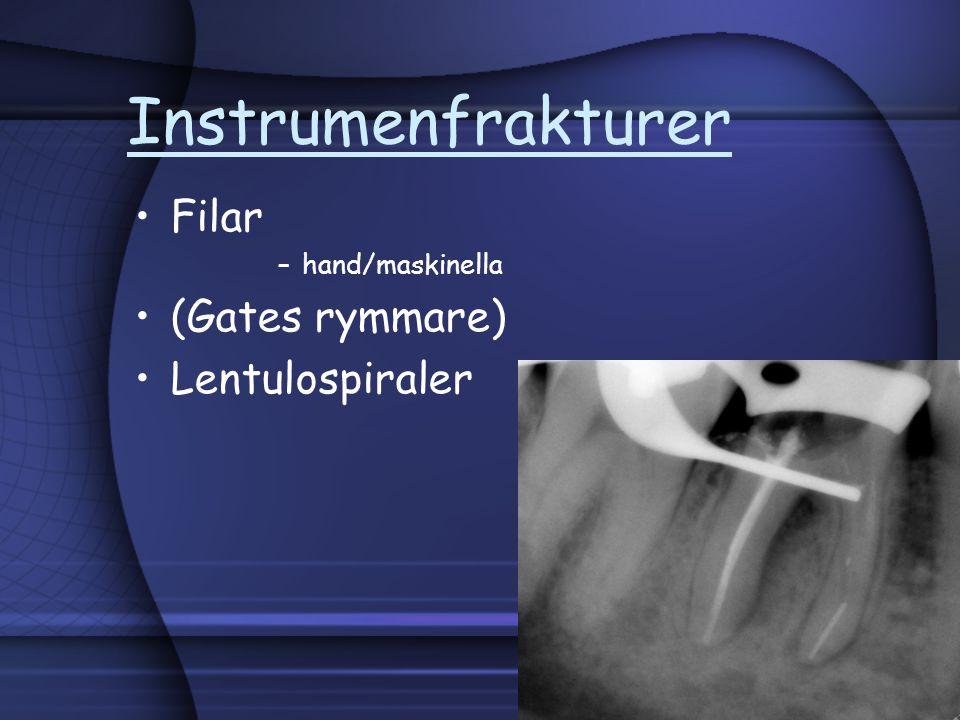 Instrumenfrakturer Filar –hand/maskinella (Gates rymmare) Lentulospiraler
