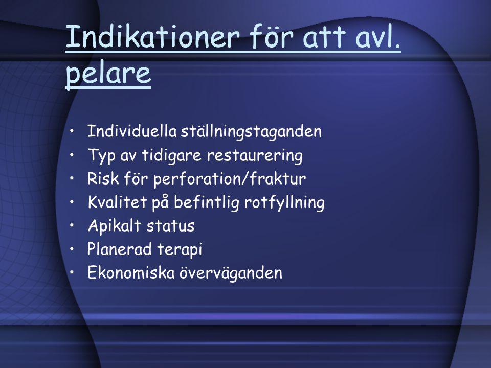 Indikationer för att avl. pelare Individuella ställningstaganden Typ av tidigare restaurering Risk för perforation/fraktur Kvalitet på befintlig rotfy