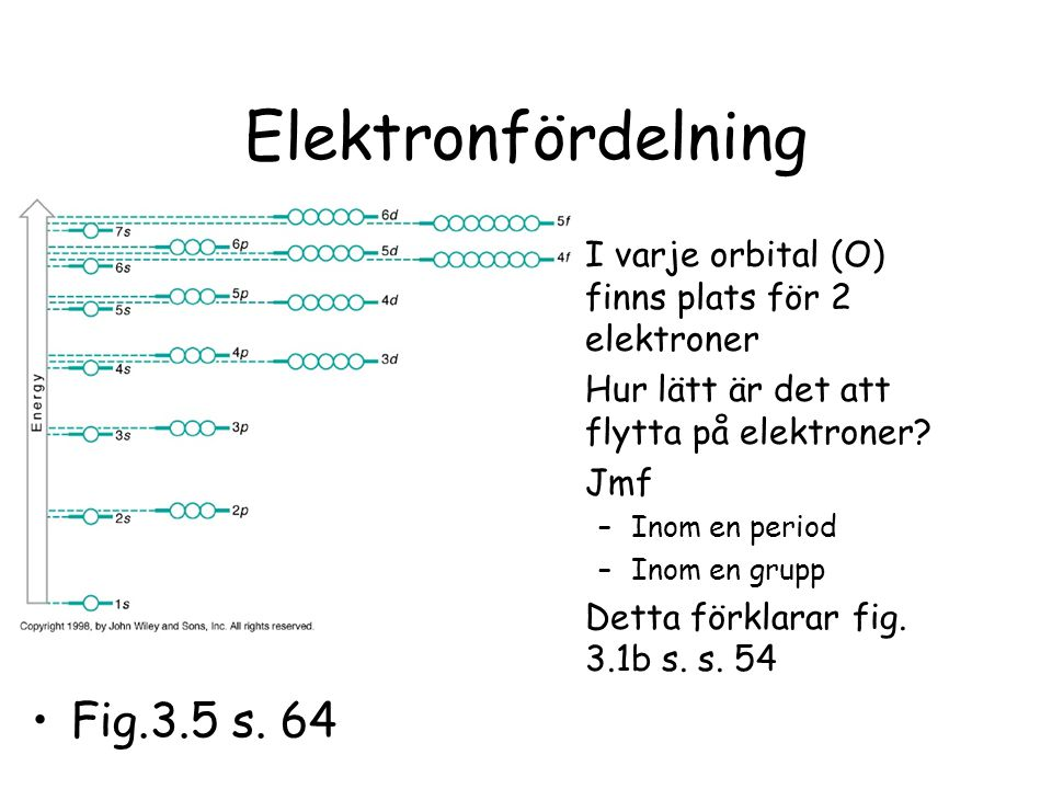 Elektronfördelning I varje orbital (O) finns plats för 2 elektroner Hur lätt är det att flytta på elektroner? Jmf –Inom en period –Inom en grupp Detta