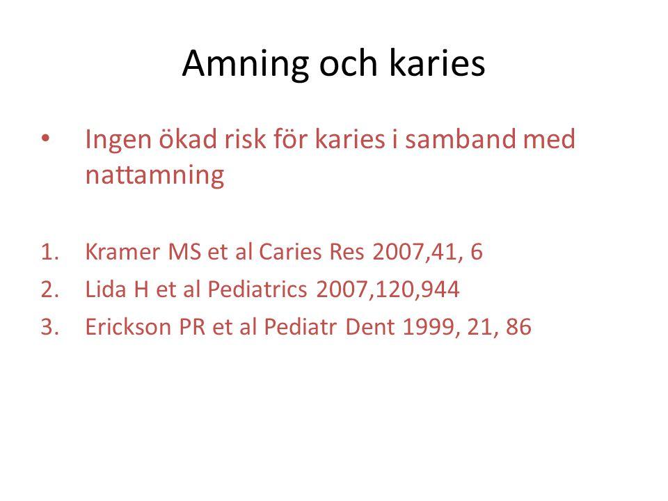 Amning och karies Ingen ökad risk för karies i samband med nattamning 1.Kramer MS et al Caries Res 2007,41, 6 2.Lida H et al Pediatrics 2007,120,944 3.Erickson PR et al Pediatr Dent 1999, 21, 86