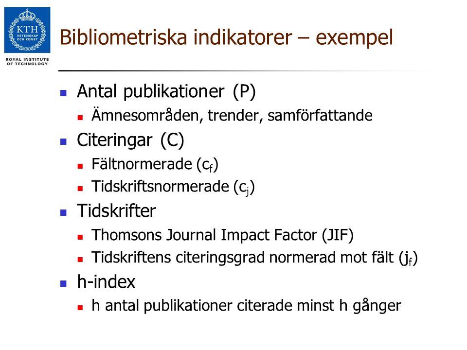 Bibliometriska indikatorer – exempel Antal publikationer (P) Ämnesområden, trender, samförfattande Citeringar (C) Fältnormerade (c f ) Tidskriftsnorme