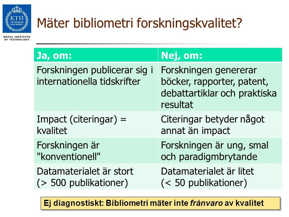 Mäter bibliometri forskningskvalitet? Ja, om:Nej, om: Forskningen publicerar sig i internationella tidskrifter Forskningen genererar böcker, rapporter