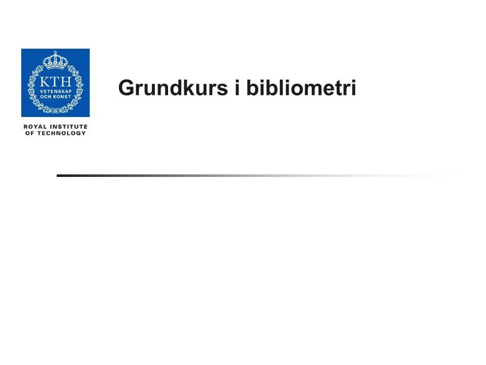 Grundkurs i bibliometri