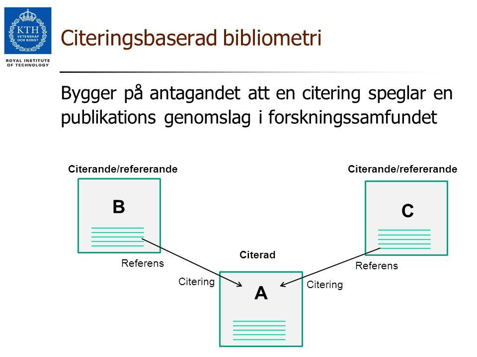 Citeringsbaserad bibliometri Bygger på antagandet att en citering speglar en publikations genomslag i forskningssamfundet A C Citerande/refererande Re