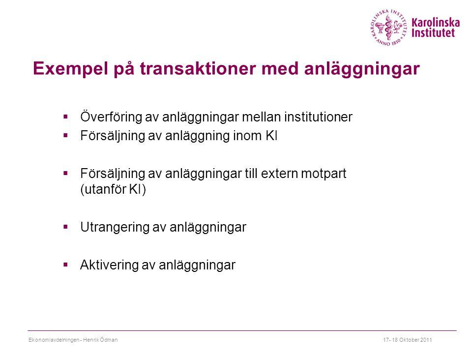 Exempel på transaktioner med anläggningar  Överföring av anläggningar mellan institutioner  Försäljning av anläggning inom KI  Försäljning av anläggningar till extern motpart (utanför KI)  Utrangering av anläggningar  Aktivering av anläggningar Ekonomiavdelningen - Henrik Ödman17- 18 Oktober 2011