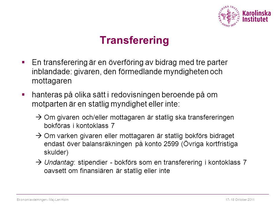 Transferering  En transferering är en överföring av bidrag med tre parter inblandade: givaren, den förmedlande myndigheten och mottagaren  hanteras på olika sätt i redovisningen beroende på om motparten är en statlig myndighet eller inte:  Om givaren och/eller mottagaren är statlig ska transfereringen bokföras i kontoklass 7  Om varken givaren eller mottagaren är statlig bokförs bidraget endast över balansräkningen på konto 2599 (Övriga kortfristiga skulder)  Undantag: stipendier - bokförs som en transferering i kontoklass 7 oavsett om finansiären är statlig eller inte Ekonomiavdelningen - Maj-Len Holm17- 18 Oktober 2011