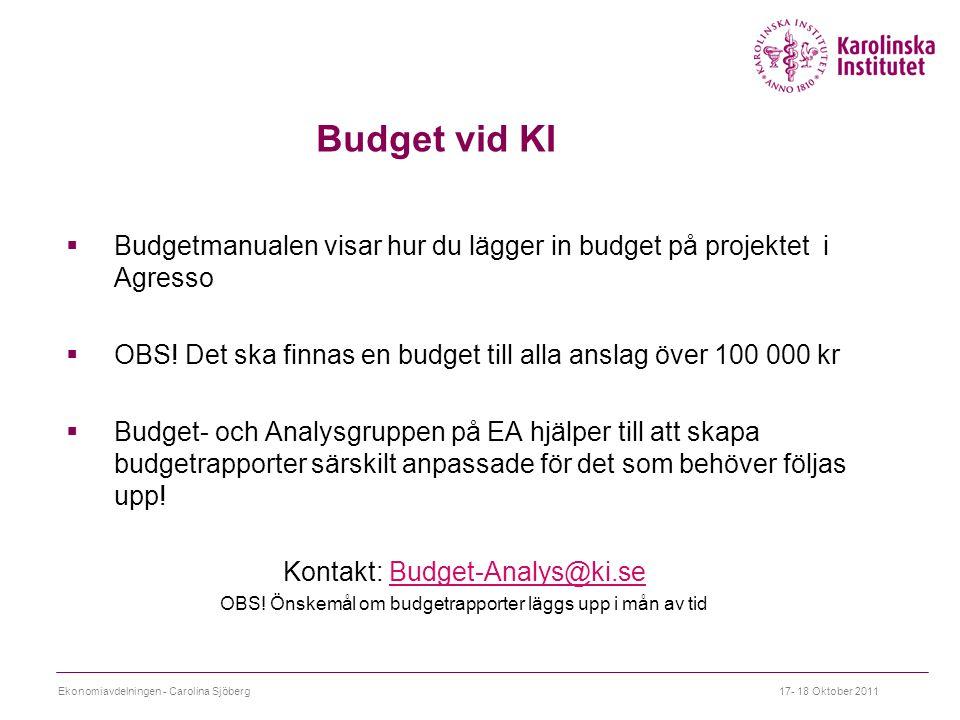  Budgetmanualen visar hur du lägger in budget på projektet i Agresso  OBS.