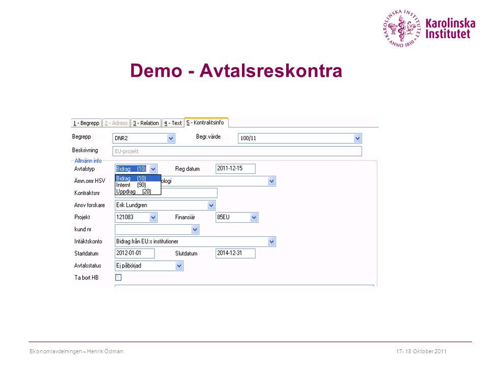 Demo - Avtalsreskontra Ekonomiavdelningen – Henrik Ödman17- 18 Oktober 2011