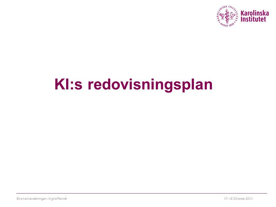 KI:s redovisningsplan 17- 18 Oktober 2011Ekonomiavdelningen - Ingrid Palmér