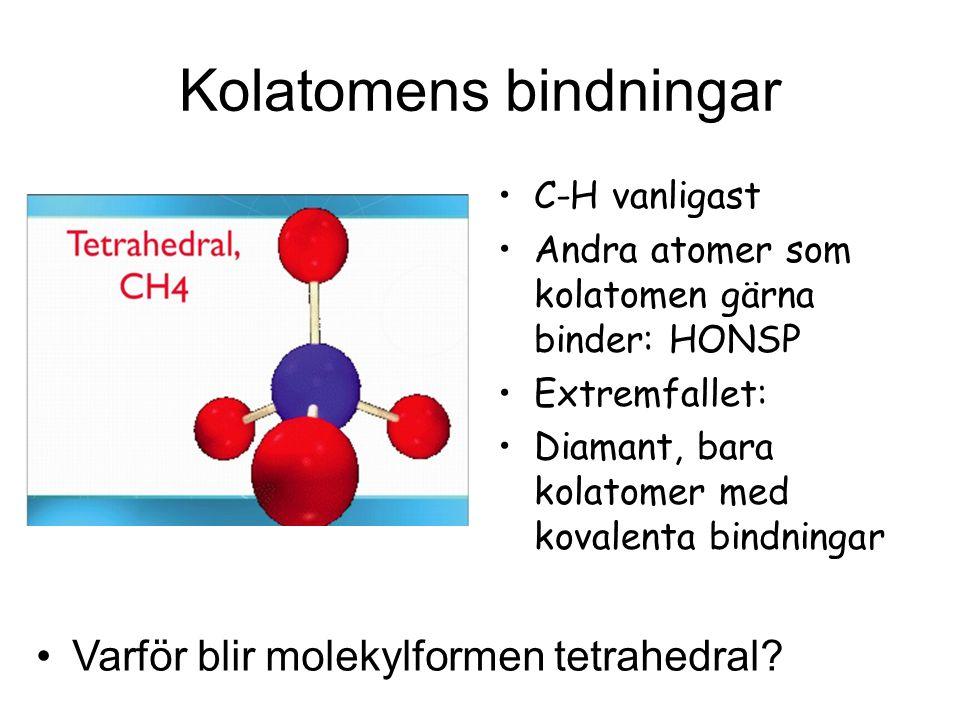 Kolatomens bindningar C-H vanligast Andra atomer som kolatomen gärna binder: HONSP Extremfallet: Diamant, bara kolatomer med kovalenta bindningar Varf