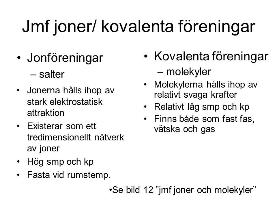 Jmf joner/ kovalenta föreningar Jonföreningar –salter Jonerna hålls ihop av stark elektrostatisk attraktion Existerar som ett tredimensionellt nätverk