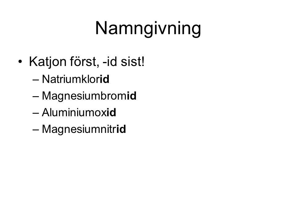 Namngivning Katjon först, -id sist! –Natriumklorid –Magnesiumbromid –Aluminiumoxid –Magnesiumnitrid