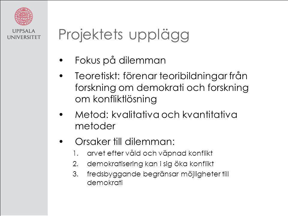 Projektets upplägg Fokus på dilemman Teoretiskt: förenar teoribildningar från forskning om demokrati och forskning om konfliktlösning Metod: kvalitativa och kvantitativa metoder Orsaker till dilemman: 1.arvet efter våld och väpnad konflikt 2.demokratisering kan i sig öka konflikt 3.fredsbyggande begränsar möjligheter till demokrati