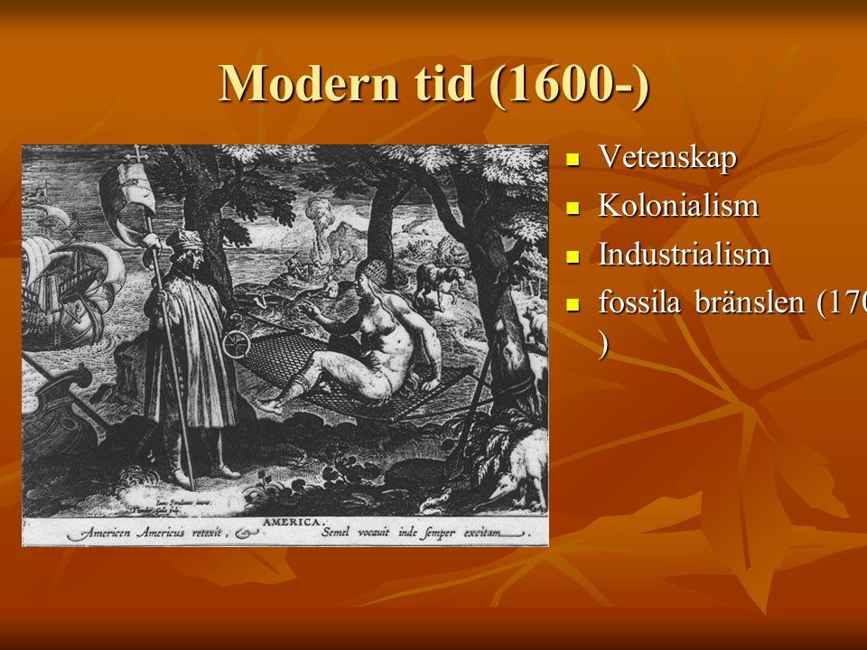 Modern tid (1600-) Vetenskap Vetenskap Kolonialism Kolonialism Industrialism Industrialism fossila bränslen (1700- ) fossila bränslen (1700- )