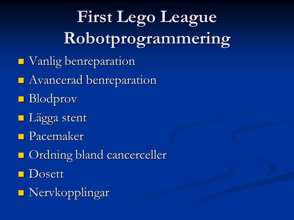 First Lego League Robotprogrammering Vanlig benreparation Vanlig benreparation Avancerad benreparation Avancerad benreparation Blodprov Blodprov Lägga stent Lägga stent Pacemaker Pacemaker Ordning bland cancerceller Ordning bland cancerceller Dosett Dosett Nervkopplingar Nervkopplingar
