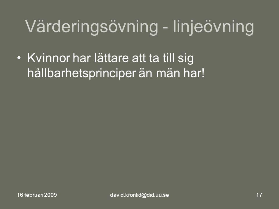16 februari 2009david.kronlid@did.uu.se17 Värderingsövning - linjeövning Kvinnor har lättare att ta till sig hållbarhetsprinciper än män har!