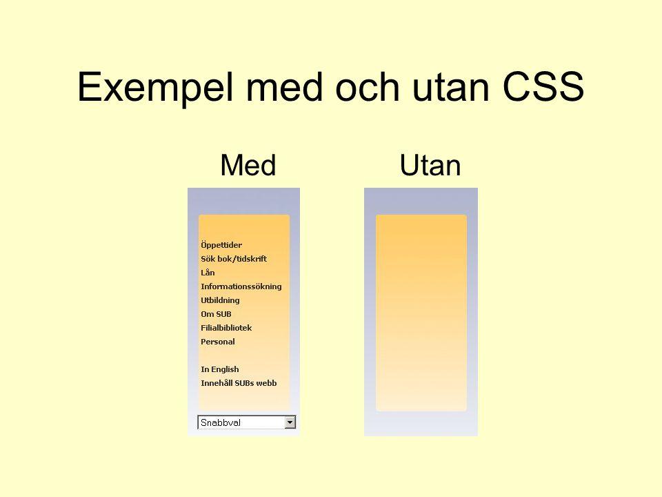 Exempel med och utan CSS Med Utan
