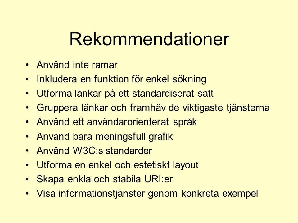 Rekommendationer Använd inte ramar Inkludera en funktion för enkel sökning Utforma länkar på ett standardiserat sätt Gruppera länkar och framhäv de vi