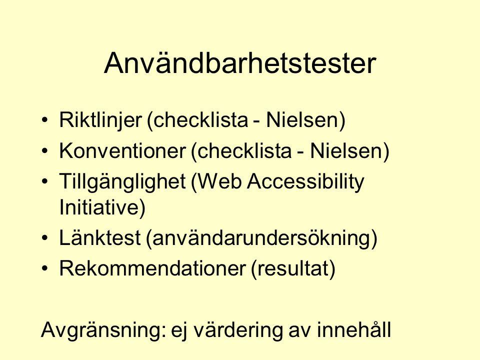 Användbarhetstester Riktlinjer (checklista - Nielsen) Konventioner (checklista - Nielsen) Tillgänglighet (Web Accessibility Initiative) Länktest (användarundersökning) Rekommendationer (resultat) Avgränsning: ej värdering av innehåll