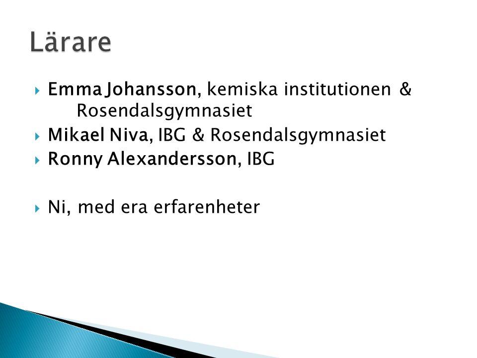  Emma Johansson, kemiska institutionen & Rosendalsgymnasiet  Mikael Niva, IBG & Rosendalsgymnasiet  Ronny Alexandersson, IBG  Ni, med era erfarenheter