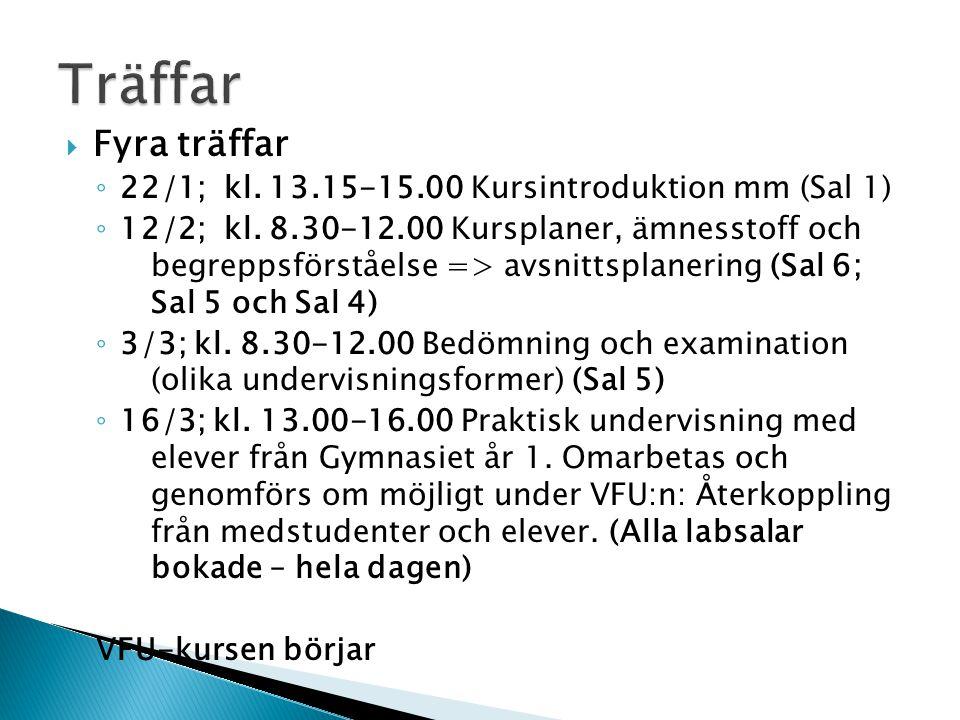  Fyra träffar ◦ 22/1; kl. 13.15-15.00 Kursintroduktion mm (Sal 1) ◦ 12/2; kl.