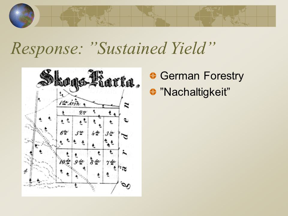 Response: Sustained Yield German Forestry Nachaltigkeit