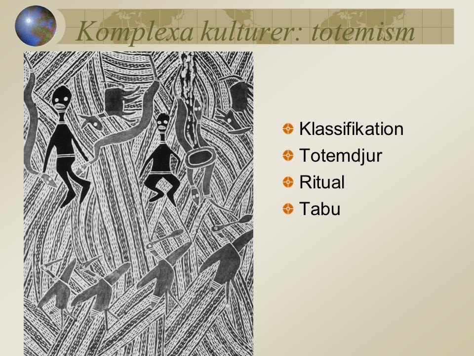 Komplexa kulturer: totemism Klassifikation Totemdjur Ritual Tabu