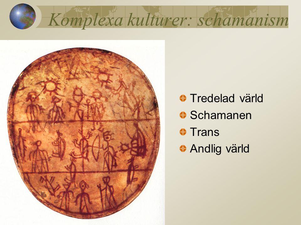 Komplexa kulturer: schamanism Tredelad värld Schamanen Trans Andlig värld