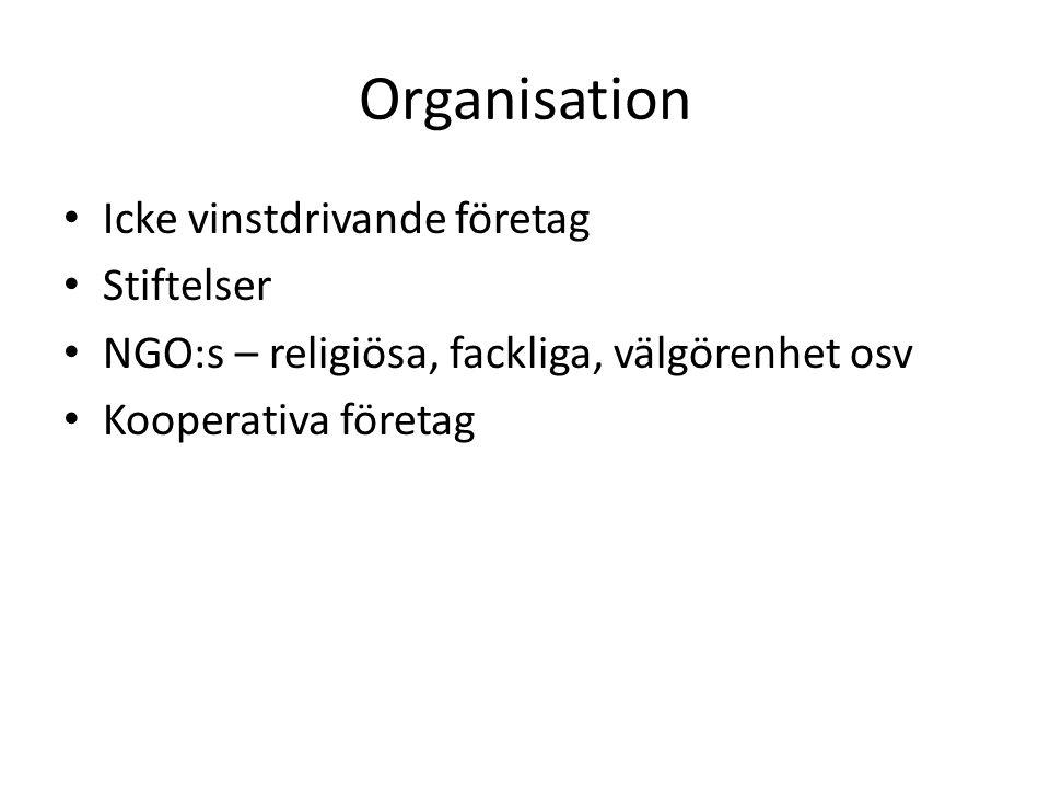 Organisation Icke vinstdrivande företag Stiftelser NGO:s – religiösa, fackliga, välgörenhet osv Kooperativa företag