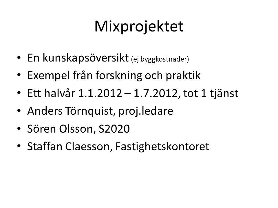 Mixprojektet En kunskapsöversikt (ej byggkostnader) Exempel från forskning och praktik Ett halvår 1.1.2012 – 1.7.2012, tot 1 tjänst Anders Törnquist, proj.ledare Sören Olsson, S2020 Staffan Claesson, Fastighetskontoret