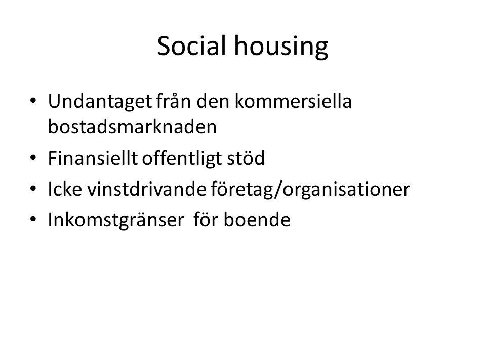 Social housing Undantaget från den kommersiella bostadsmarknaden Finansiellt offentligt stöd Icke vinstdrivande företag/organisationer Inkomstgränser för boende