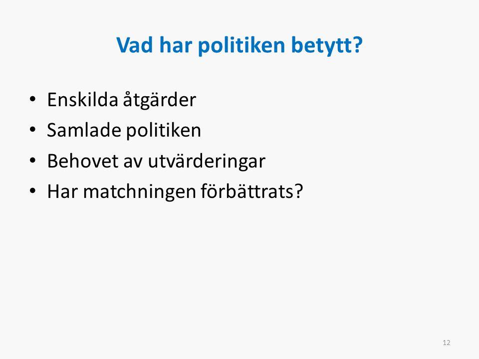Vad har politiken betytt? Enskilda åtgärder Samlade politiken Behovet av utvärderingar Har matchningen förbättrats? 12