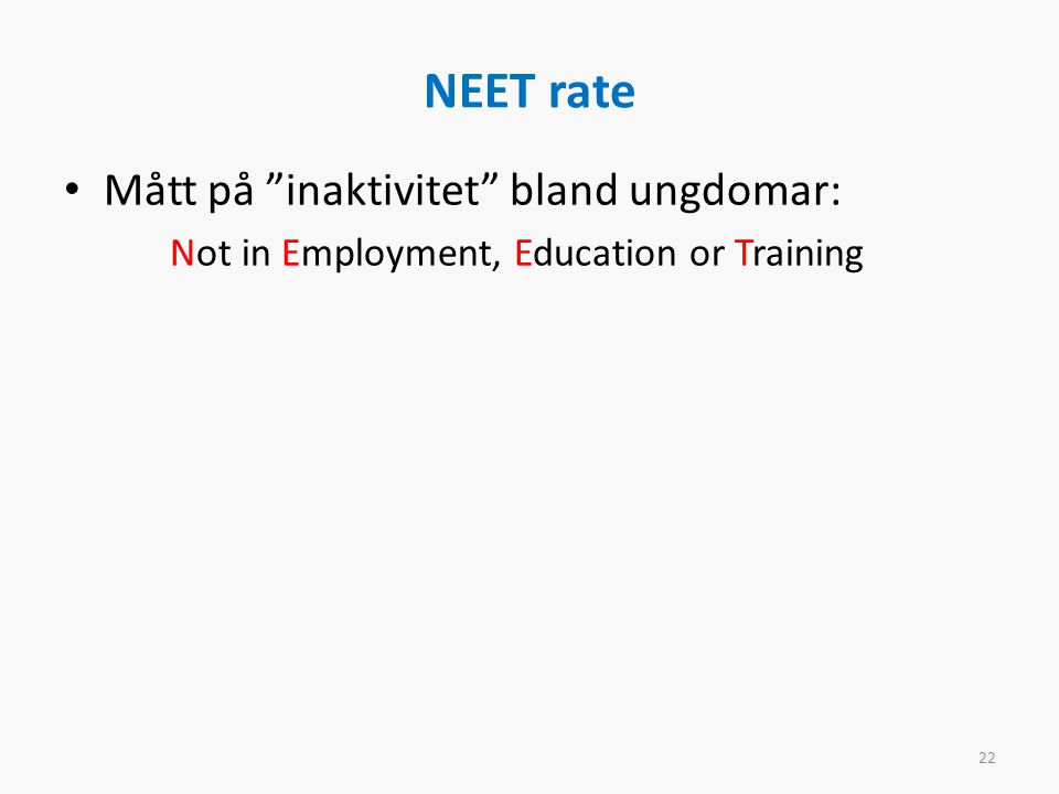 NEET rate Mått på inaktivitet bland ungdomar: Not in Employment, Education or Training 22