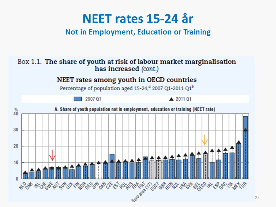 NEET rates år Not in Employment, Education or Training 23