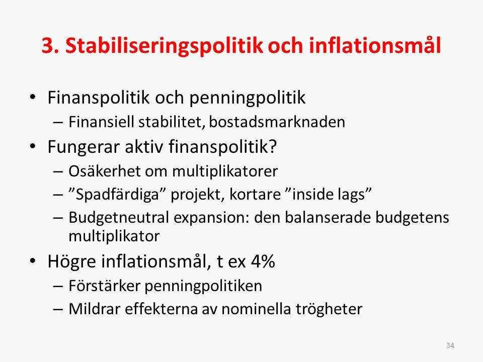3. Stabiliseringspolitik och inflationsmål Finanspolitik och penningpolitik – Finansiell stabilitet, bostadsmarknaden Fungerar aktiv finanspolitik? –