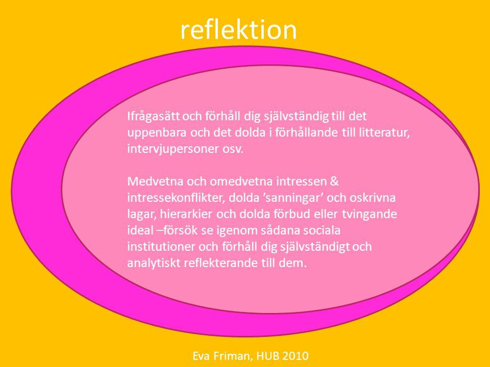reflektion Eva Friman, HUB 2010 Ifrågasätt och förhåll dig självständig till det uppenbara och det dolda i förhållande till litteratur, intervjuperson