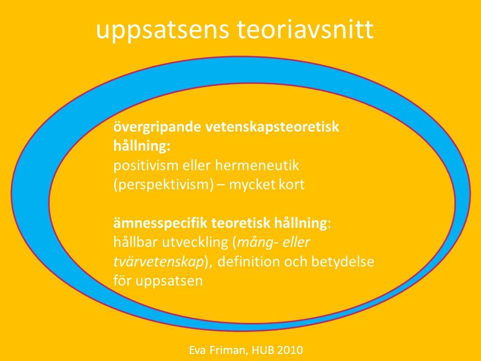 uppsatsens teoriavsnitt Eva Friman, HUB 2010 övergripande vetenskapsteoretisk hållning: positivism eller hermeneutik (perspektivism) – mycket kort ämn