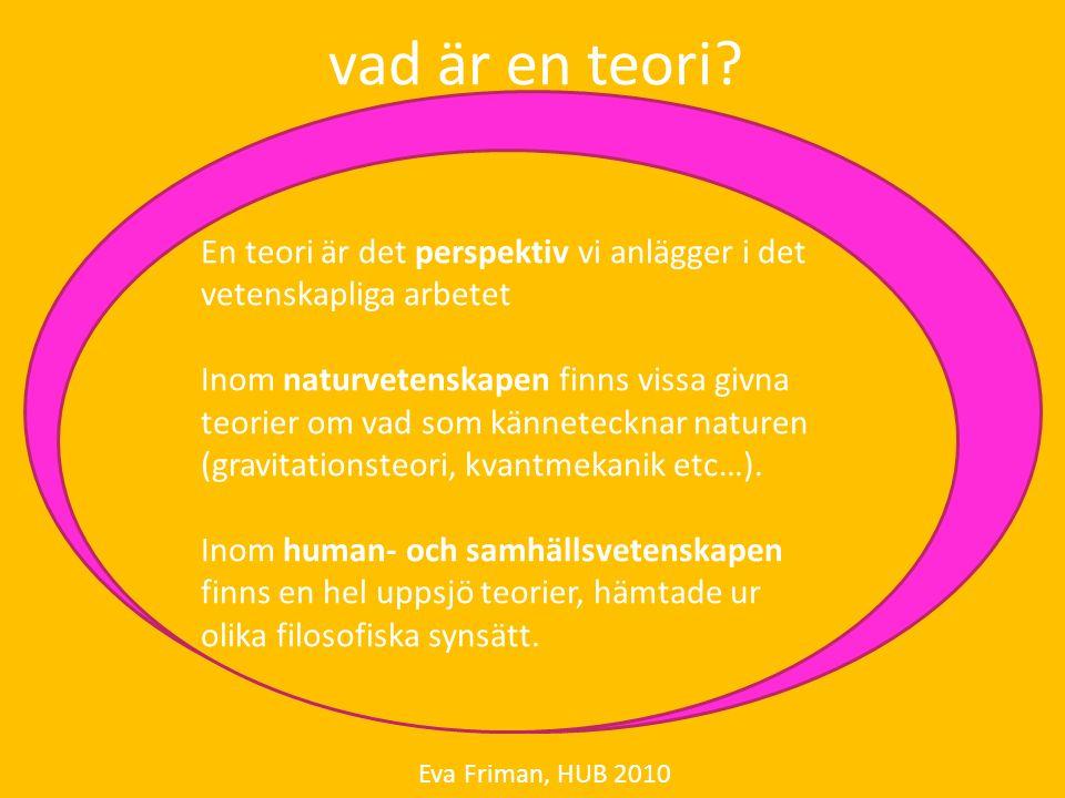 uppsatsens teoriavsnitt Eva Friman, HUB 2010 övergripande vetenskapsteoretisk hållning: positivism eller hermeneutik (perspektivism) – mycket kort ämnesspecifik teoretisk hållning: hållbar utveckling (mång- eller tvärvetenskap), definition och betydelse för uppsatsen