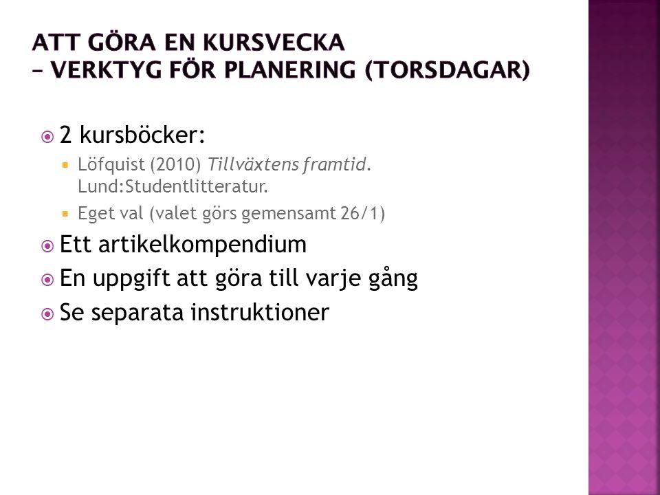  2 kursböcker:  Löfquist (2010) Tillväxtens framtid.