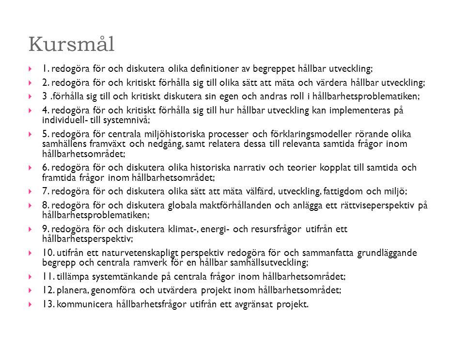 Kursmål  1. redogöra för och diskutera olika definitioner av begreppet hållbar utveckling;  2.