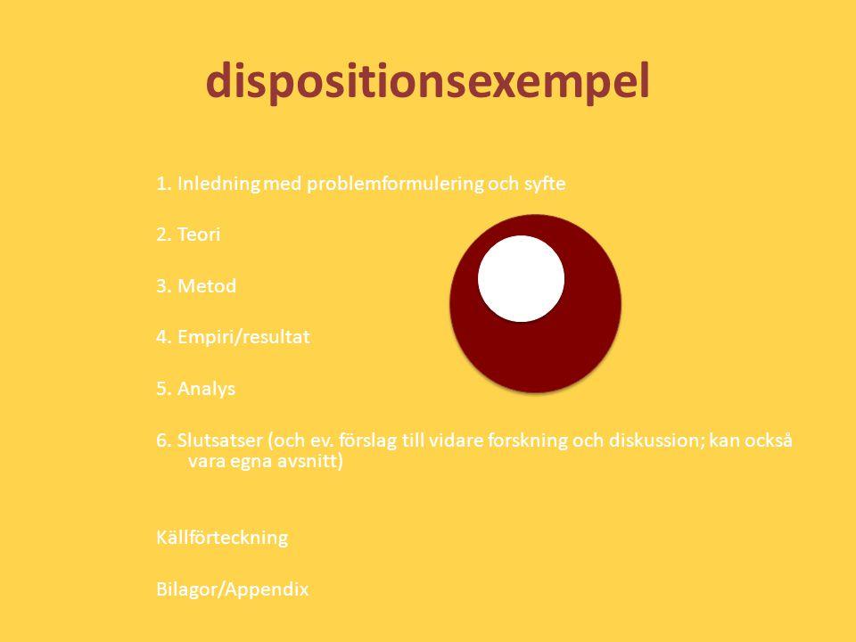 dispositionsexempel 1. Inledning med problemformulering och syfte 2. Teori 3. Metod 4. Empiri/resultat 5. Analys 6. Slutsatser (och ev. förslag till v