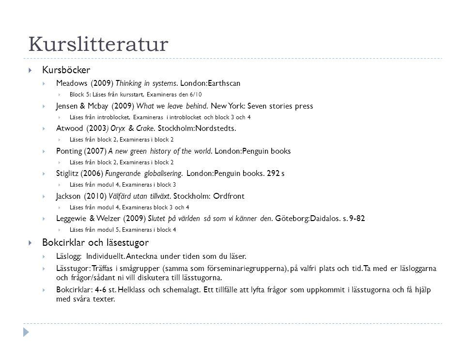 Kursböcker Block 1 (Introblocket): Jensen & Mcbay (2009) What we leave behind.