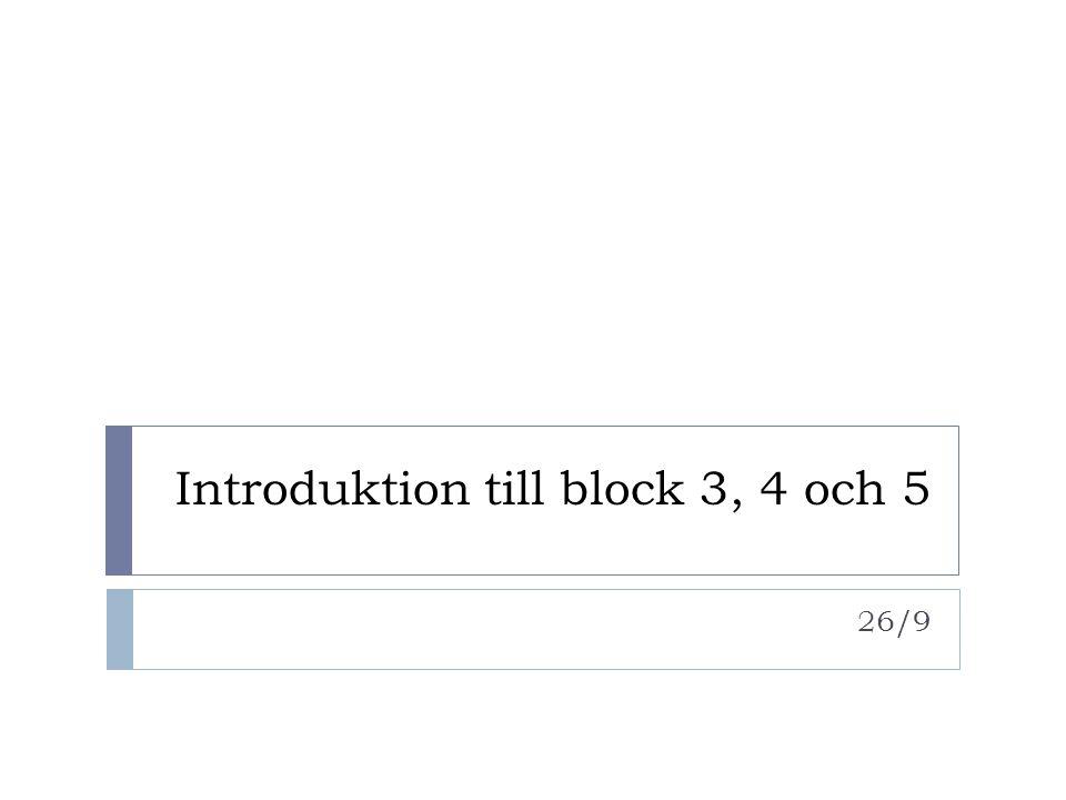 Examination, Seminarier & workshops  Block 3  Seminarium: Rollspel utifrån Paths to a green world  Seminarium: Experimentet  Seminarium: Välfärd utan tillväxt  Seminarium: Civilt engagemang  Muntlig slutexamination  Block 4  Seminarium: Klimat  Seminarium: Gränser  Seminarium: Ramverk för hållbar utveckling, Case Uppsala  Seminarium: Presentation av berättelse  Muntlig slutexamination  Block 5  Innovationsworkshop  Pyramidworkshop  Workshop: Introduktion till projekt  Workshop: Feedback  Workshop: Indikatorer, system och leverage points  Workshop: Retorik  Projektmässa