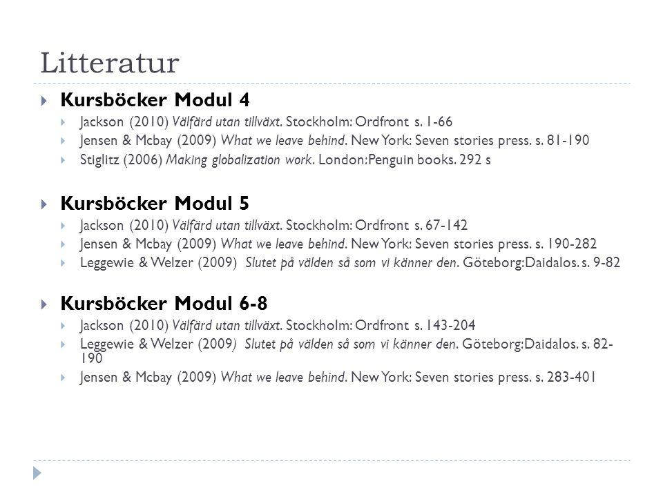 Block 1 Block 2 Modul 4 Modul 5 Modul 6-8Jensen & McBay – What we leave behind Atwood – Oryx & Crake Ponting – A new green history of the world Jackson – Välfärd utan tillväxt Stiglitz – Fungerande globalisering Leggewie & Welzer – Slutet på världen så som vi känner den Meadows – Thinking in systems