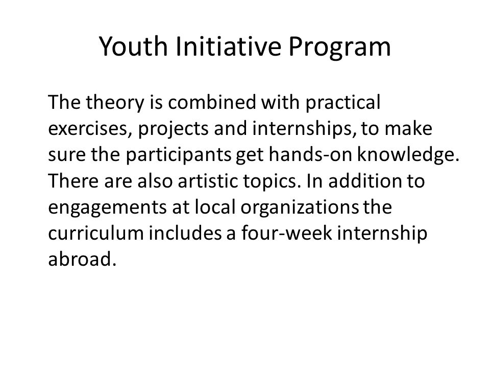 Youth Initiative Program The theory is combined with practical exercises, projects and internships, to make sure the participants get hands-on knowledge.