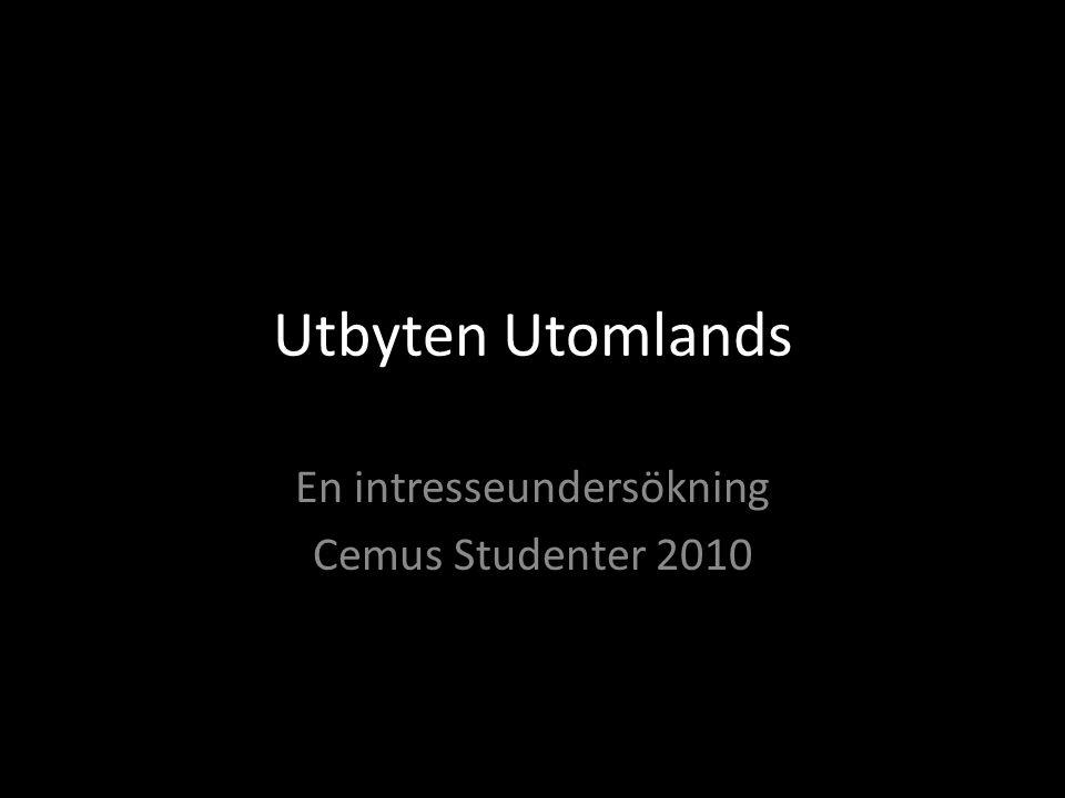 Utbyten Utomlands En intresseundersökning Cemus Studenter 2010