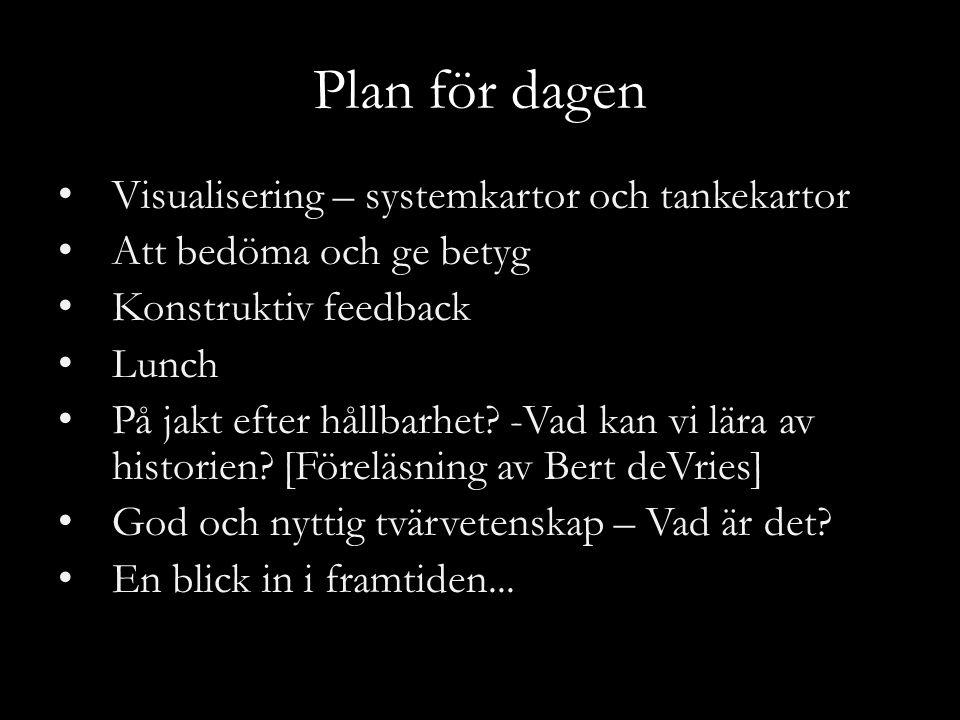 Plan för dagen Visualisering – systemkartor och tankekartor Att bedöma och ge betyg Konstruktiv feedback Lunch På jakt efter hållbarhet.