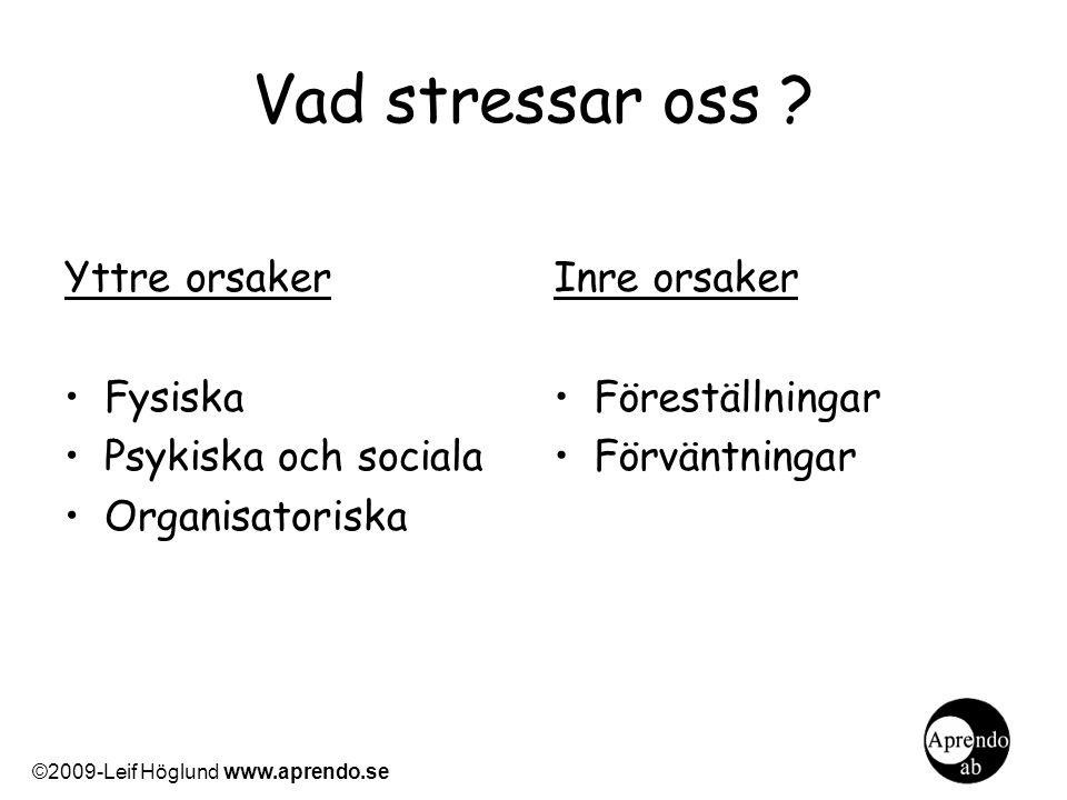 Vad stressar oss ? Yttre orsaker Fysiska Psykiska och sociala Organisatoriska Inre orsaker Föreställningar Förväntningar ©2009-Leif Höglund www.aprend