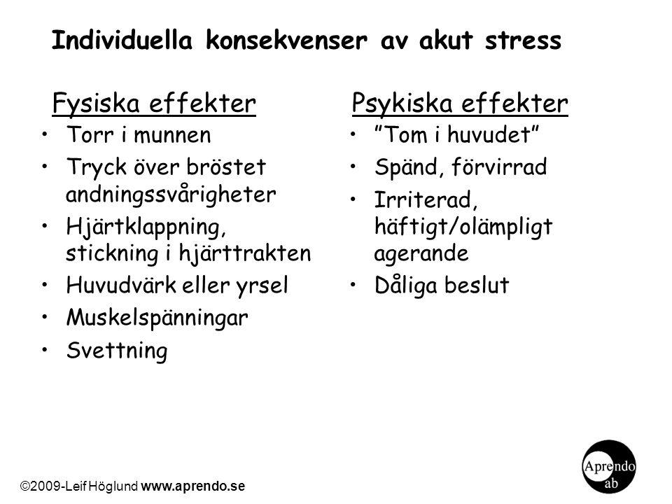 Individuella konsekvenser av akut stress Fysiska effekter Psykiska effekter Torr i munnen Tryck över bröstet andningssvårigheter Hjärtklappning, stick