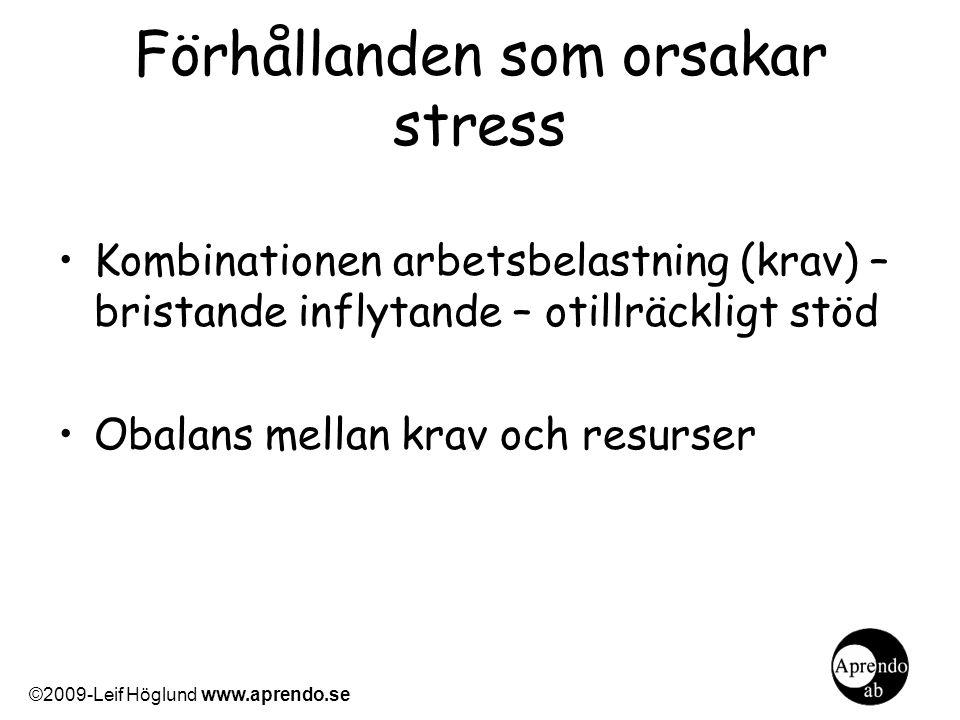 Förhållanden som orsakar stress Kombinationen arbetsbelastning (krav) – bristande inflytande – otillräckligt stöd Obalans mellan krav och resurser ©20